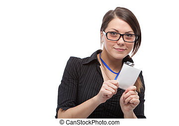 Woman with blank id card. Focused on blank id. Isolated over...