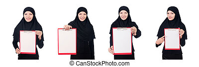 Woman with blank page on white
