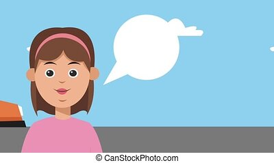 Woman with blank speech bubble HD animation - Woman with...
