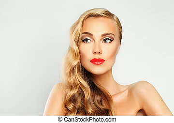 Woman with Blond Coloring Hair