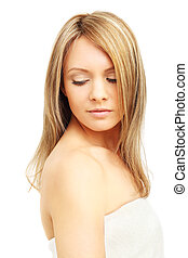 Woman with blond hair isolated