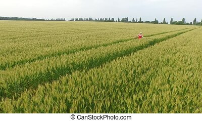 Woman with blonde hair in a red dress runsin the field with wheat.