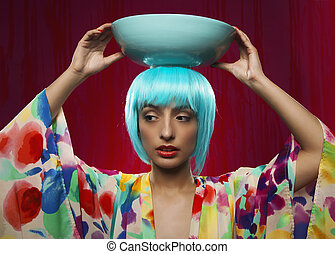 Woman with Blue Hair and Blue Pot