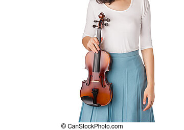Woman with blue skirt holding violin in hand.