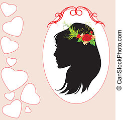 Woman with bouquet in hair. Card