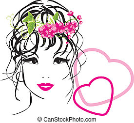 Woman with bouquet in hair
