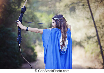 woman with bow and arrow.