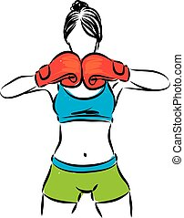 WOMAN WITH BOXING GLOVES VECTOR ILLUSTRATION