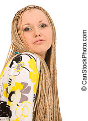 woman with braids - blond woman with the braids on a white ...