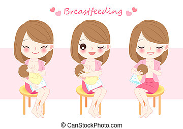 woman with breast feeding concept on the pink background
