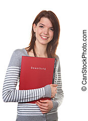 Woman with Briefcase application for interview - A pretty...