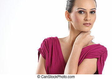 woman with bright pink tops