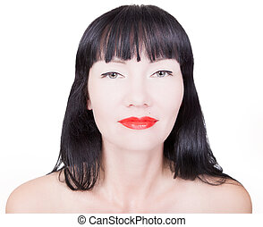 Woman with bright red lips