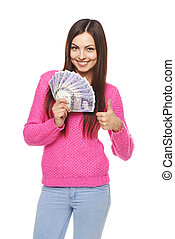 Woman with British pounds - Closeup of young beautiful woman...