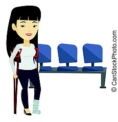 Woman with broken leg and crutches.
