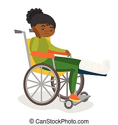 Woman with broken leg sitting in a wheelchair.