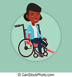 Woman with broken leg sitting in wheelchair.