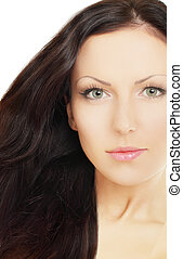 Woman with brown hair, beauty salon background
