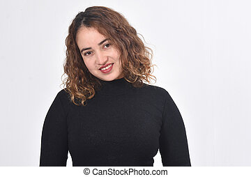 woman with brown hair on white background