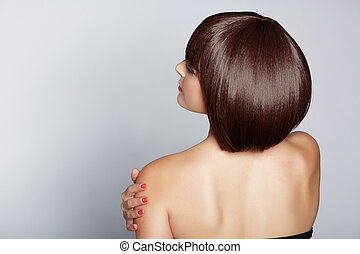 woman with brunette bob - portrait of a beautiful woman in...