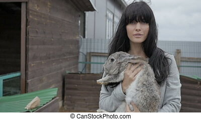 Woman with bunny - woman, hare, bunny, rabbit, cute, zoo,...