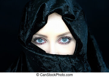 Woman with Burka - Beautiful girl wearing a niqab