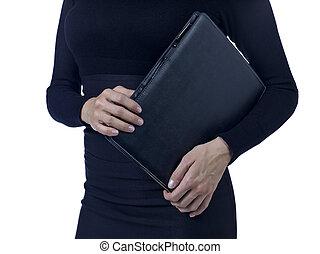 woman with business portfolio