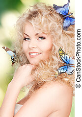 woman with butterflies in hair