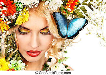 Woman with butterfly and flower. - Face of woman with make...