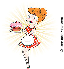 woman with cake - retro style cartoon woman holding a cake