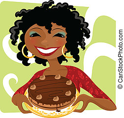 woman with cake - smiling woman holding chocolate cake