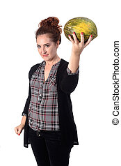 woman with cantaloupe on white background