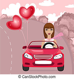 Woman with car air valentines