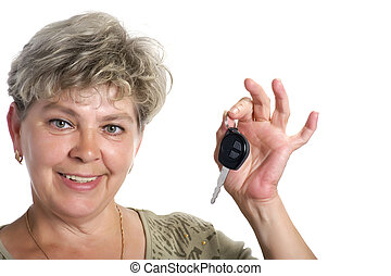 woman with car key close up