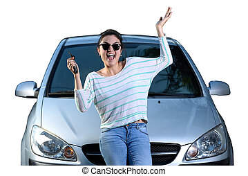 woman with car key