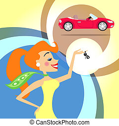 woman with car keys - Woman with keys for a new car vector...