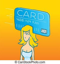 Woman with card swipe on his head