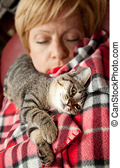 Woman with cat - Cat sleeping with the owner