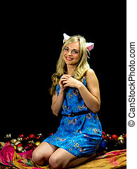 woman with cat ears. on black background