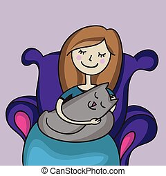 Woman with cat vector illustration hand drawn. Girl sitting in the armchair with little kitty. Love and tenderness