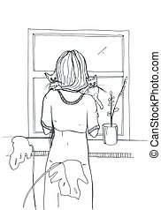 Woman with cats standing near the window. Hand drawn vector illustration on white background.