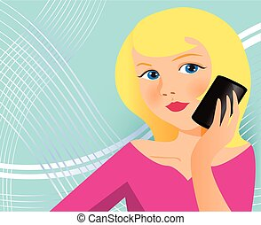 woman with cell phone - Is a EPS 10 Illustrator file