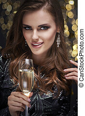 Woman with champagne flute flirting