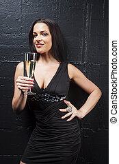 woman with champagne on black