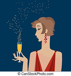 woman with champagne  portrait. party vector poster