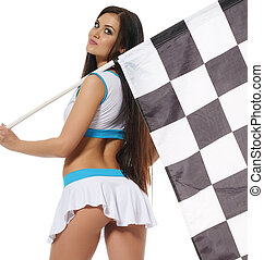 Woman with checkered race flag isolated on white