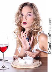 woman with cheese and red wine