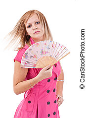 Woman with Chinese fan
