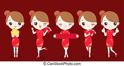 woman with chinese new year