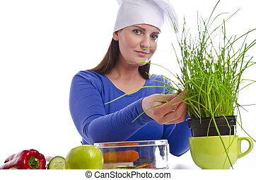 Woman with chives